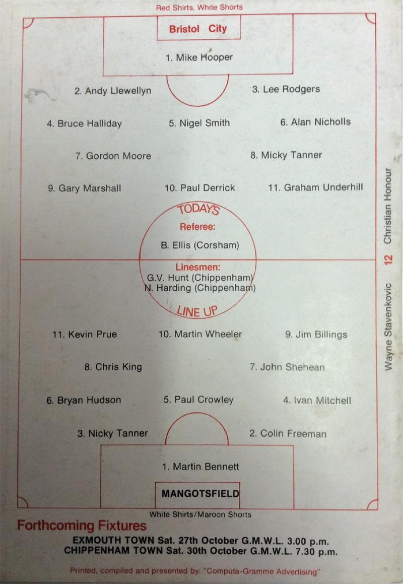 Toolstation western league programmes for League table 1984 85